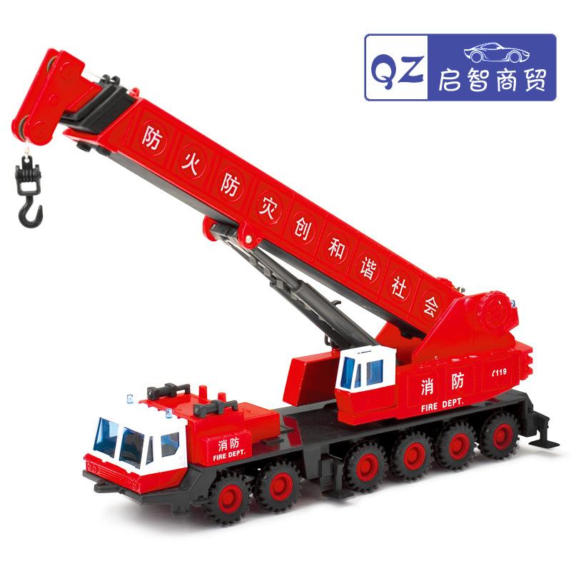Shipping Free Jun 2189 fire crane simulation alloy truck crane arm telescopic child toy car model 1:60(China (Mainland))