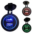 Waterproof Car Charger 12V 24V Universal Dual USB Car Cigarette Lighter LED Digital Display Charging Socket