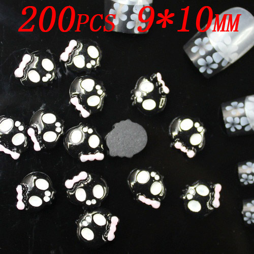 Wholesale 200pcs 10x9mm black with pink bow skull resin Flatback 3d nail stickers applique for nail art(China (Mainland))