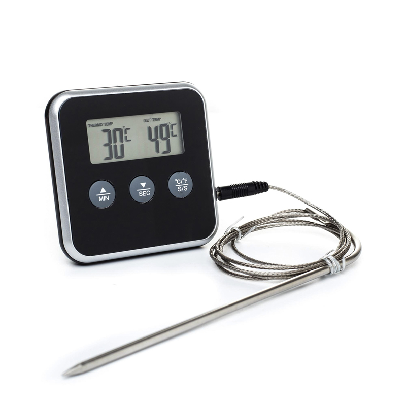 Digital Kitchen Food Cooking/Oven Thermometers/BBQ/Barbecue/Grill/Smoker Meat/Roasting/Water Thermometer With Probe&TIMER,Black(China (Mainland))