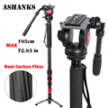 ASHANKS A750C Carbon Fiber Extendable Handheld Monopod with Fluid Head For Video Dslr Camcorder Camera Better