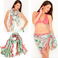 2015 Sexy Women Flower 3 In 1 Brand Summer Green Tassel Scarf Fashionable Foulard Chiffon Bikini