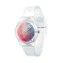 Vendimia de moda caliente mujeres del análogo de cuarzo estrellada reloj de pulsera con de plástico transparente de la correa de banda de regalos