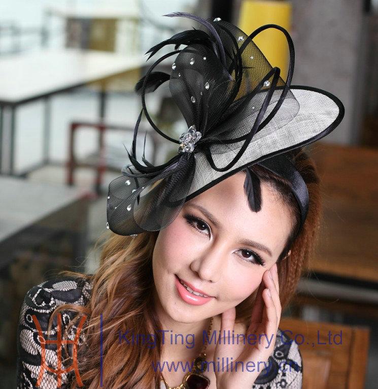 Free Shipping Elegant Headbands Feather Hair Fascinator Hats Hair Accessories Wedding Headpiece Princess Bows Black Mesh Stones(China (Mainland))