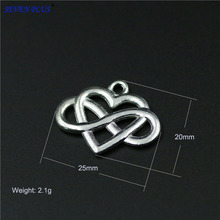 High Quality 20 Pieces/Lot 20mm*25mm Alloy Metal Silver Plated Infinity Heart Endless Love Charm Pendant For Jewelry Making(China (Mainland))