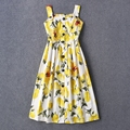 Frees Shipping 2016 Spring Summer Yellow Lemon Prnt Shoulder Straps Short Women Dress Fashion Runway Pattern