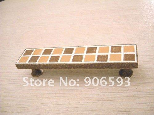 12pcs lot free shipping Coffee mosaic porcelain furniture handle(China (Mainland))