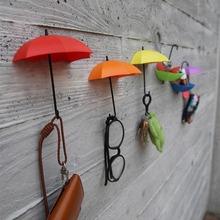 2016 Fashion 3Pcs Colorful Umbrella Wall Hook Key Hair Pin Holder Organizer Decorative Brand New(China (Mainland))