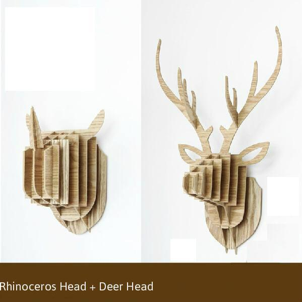 2pcs/set craft animal head wall hanger hangers deer head teak wood wall art home decor wood crafts wooden shapes kokeshi B004(China (Mainland))