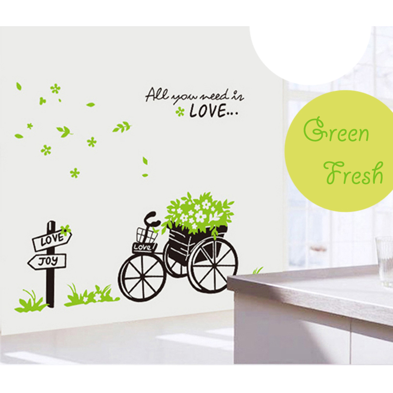 Romantic Fresh Green Leaf Flower Basket Bike Love Wall Stickers for Kids Room Nursery Bedroom Wallpaper Removable Home Decor(China (Mainland))