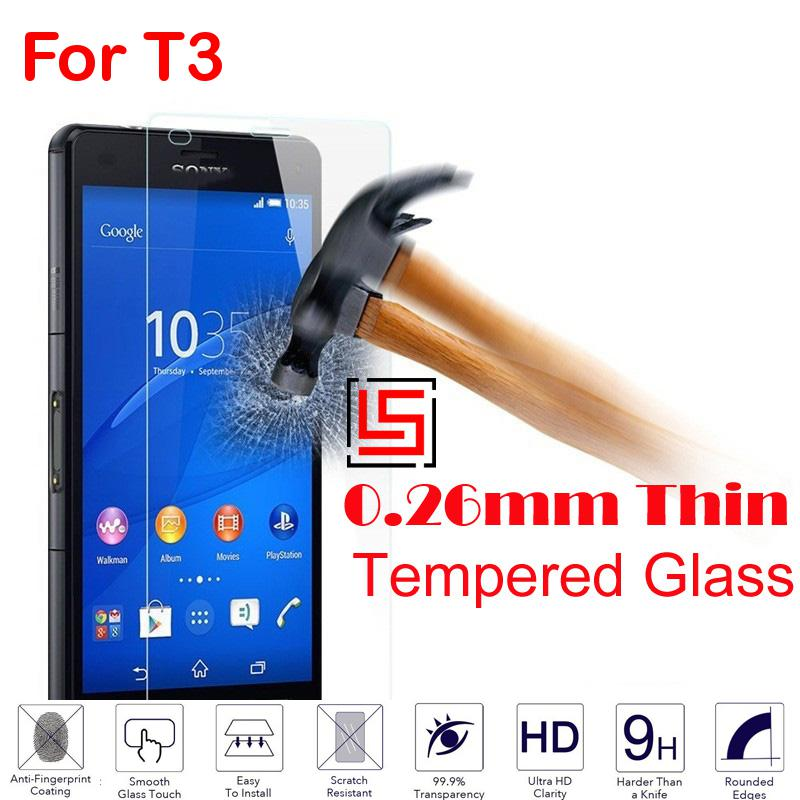 0.26mm 2.5D 9H Tempered Temper Glass Verre Phone Mobile Cell Front Film Screen Protector For Sony Xperia T3 D5106 D5103 T 3(China (Mainland))