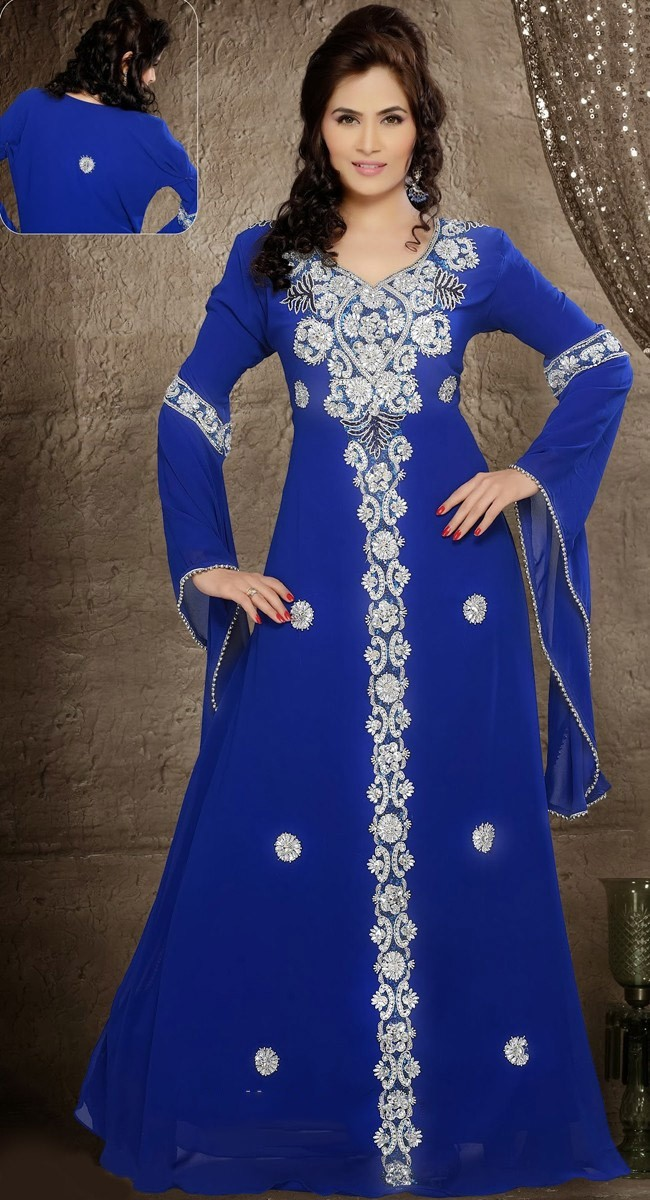 Royal Blue Chiffon Arabic Evening Dresses Beads Long Sleeves Chiffon Formal Dress 2015 Fashion Abaya Kaftan Dubai Gowns RG400(China (Mainland))