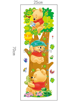 Decorate children room Trees And Bear Pattern Removable Wall Stickers Height Measure For Kids Room Wall Decal Home Decals LM2001