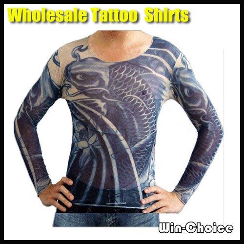 Wholesale 50pcs lot temporary tattoo tshirts long sleeves for Tattoo t shirts wholesale