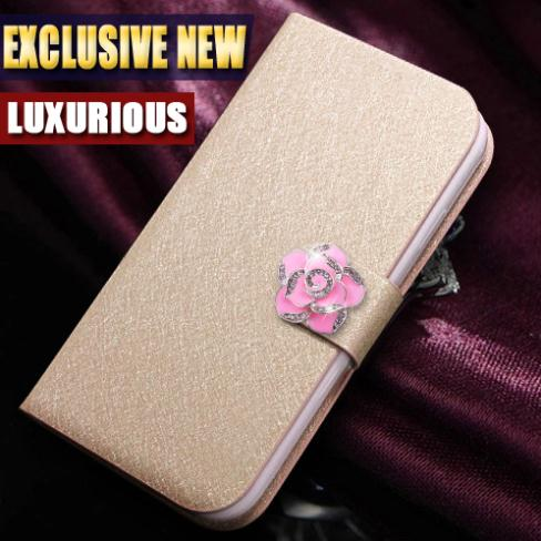 2015 NEW Leather Case For SONY Xperia Z1 mini D5503 M51W Z1 Compact Book Style Flip Stand Leather Cover with camellia in stock