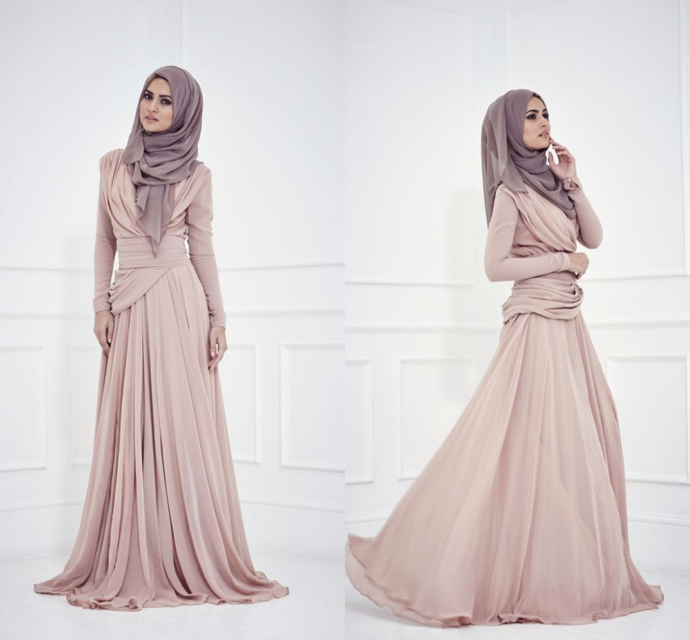 muslims style evening dresses high neck long sleeve a line floor length robe de soiree pleats. Black Bedroom Furniture Sets. Home Design Ideas