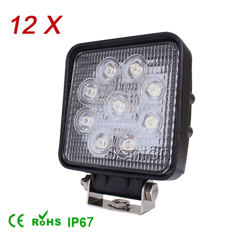 12Pcs 4 Inch 27W High-Power 9X 3W Square LED Work Light 12V Flood For 4x4 Offroad ATV Truck Tractor Motorcycle Driving Fog Lamps(China (Mainland))