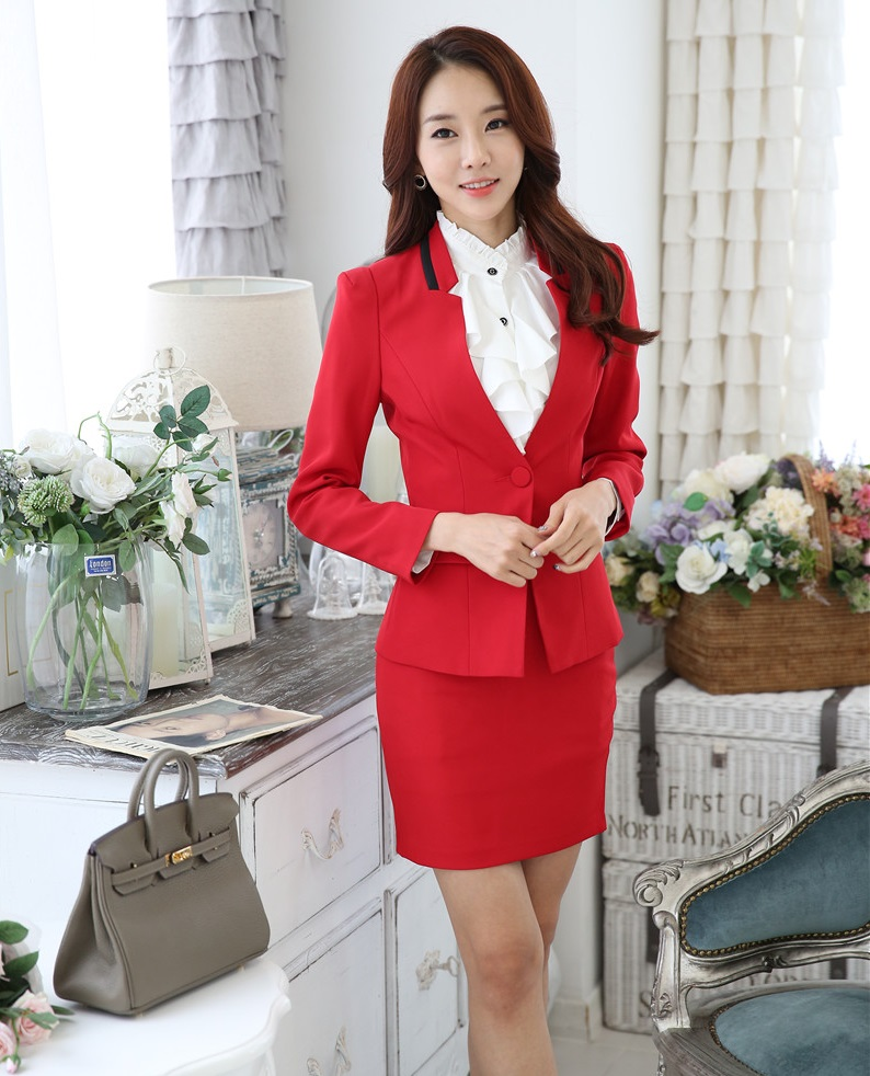 Plus Size 4XL Novelty Red Professional Autumn And Winter Business Suits With Jackets And Skirt Ladies