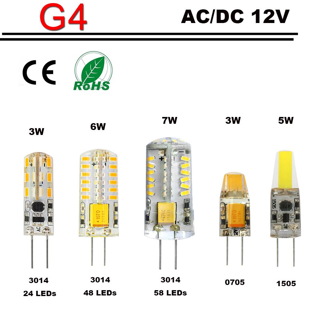 10pcs/lot led G4 LED Lamp Bulb Replace halogen lamp Lighting G4 12V 3014 2835 0705 1505 SMD 3W 6W 7W DC 12V / AC 12V Spotlight(China (Mainland))