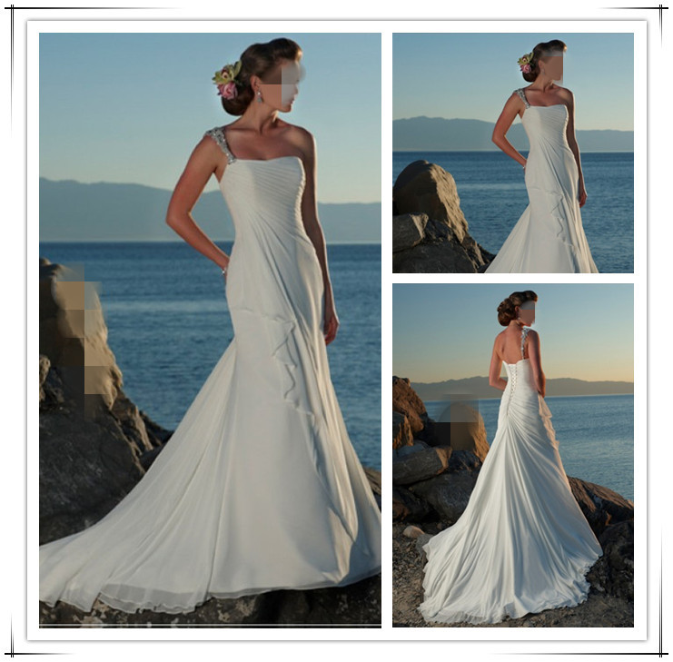 Vestidos de noiva Free Shipping ! 2016 New Arrival Chiffon One Shoulder Bridal Gown White & Ivory Beach Wedding Dresses OW 1339(China (Mainland))