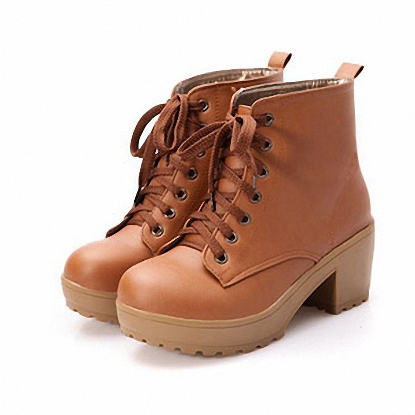ENMAYER new2016 autumn boots spring women boots, Artificial high heel Platform lace up ankle boots girls shoes big size 34-43hot