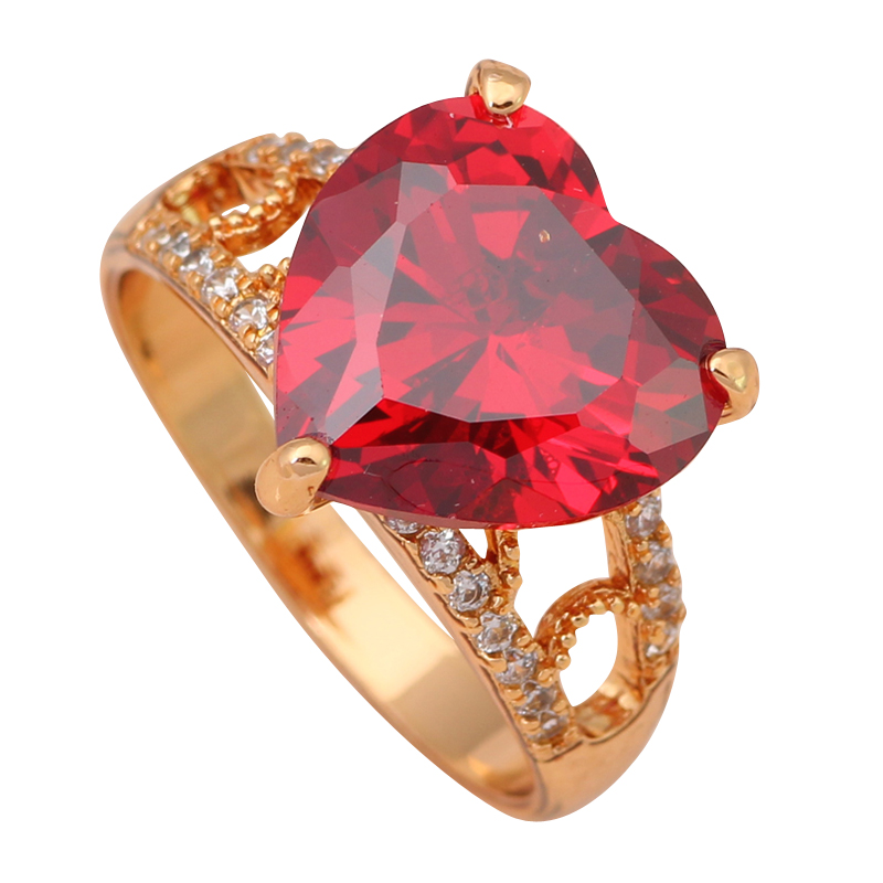 Heart Exaggerated ring 18K Gold Plated Health Jewelry Nickel & Lead Free Garnet Zircon Element Ring Sz #6.5 #7 #7.5 JR1902A(China (Mainland))