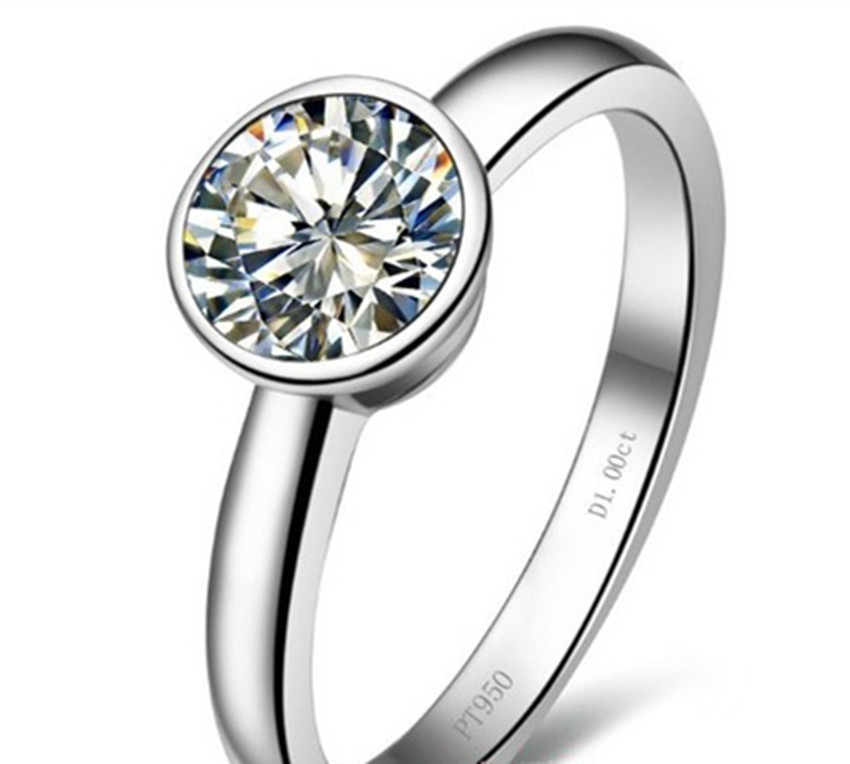 1 Carat Solid 14K Gold Lucky Round Reassuring Synthetic Diamond Engagement Ring For Woman Fashion Wedding Jewelry Accessories(China (Mainland))