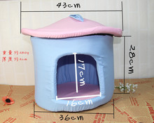 Canvas Pet Puppy Bed House Soft PP Cotton Filled Dual Using Dog Cushion Detachable Wash Dog Kennel(China (Mainland))