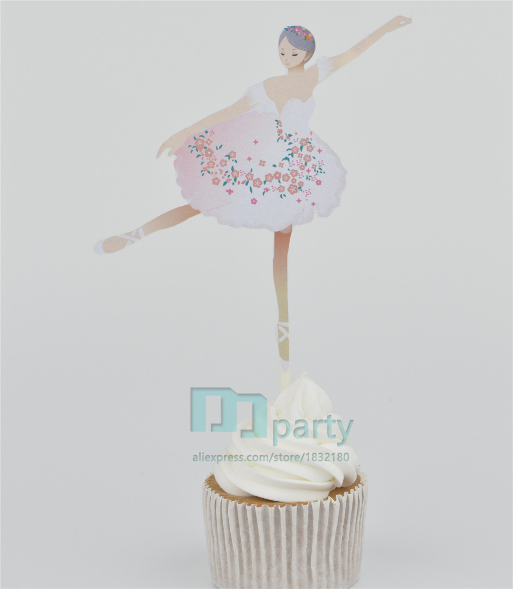 : Handmade Gold Ballerina Cupcake Toppers,baby Girl Birthday Party decoration , Dance Party Decor, Dance party ballet decor(China (Mainland))