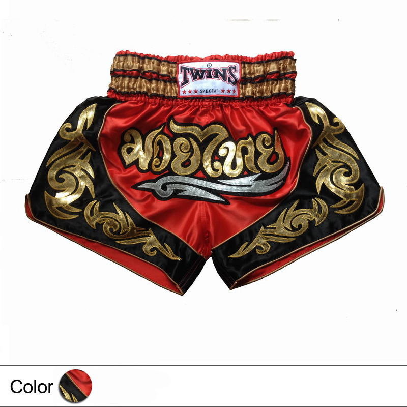 Free Shipping Fighting Shorts Muay Thai Shorts Boxing Pants Men's Sport Clothes M-XXXL Boxeo Free Combat Pants Golden Flame(China (Mainland))