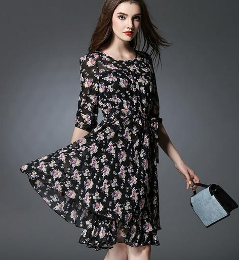 2016 Summer Style Women Chiffon Dresses Foral Printed Dresses Pleated Vestidos Femininos Office Dresses Plus Size Robe Sexy D870(China (Mainland))