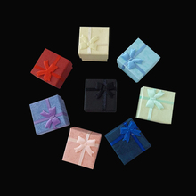 Wholesale 48pcs/lot Fashion Ribbon Jewelry Box, Multi colors Ring Boxes, Earrings/Pendant Box 4*4*3 Display Packaging Gift Box(China (Mainland))