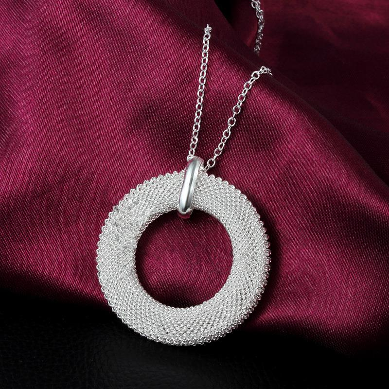 hot sale women Silver Plated annular Charm Pendant Necklace Chain CA(China (Mainland))