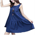 Plus Size XL 6XL Summer Women Sleeveless Tank Dress 2016 Summer New Femininos Cotton and Line