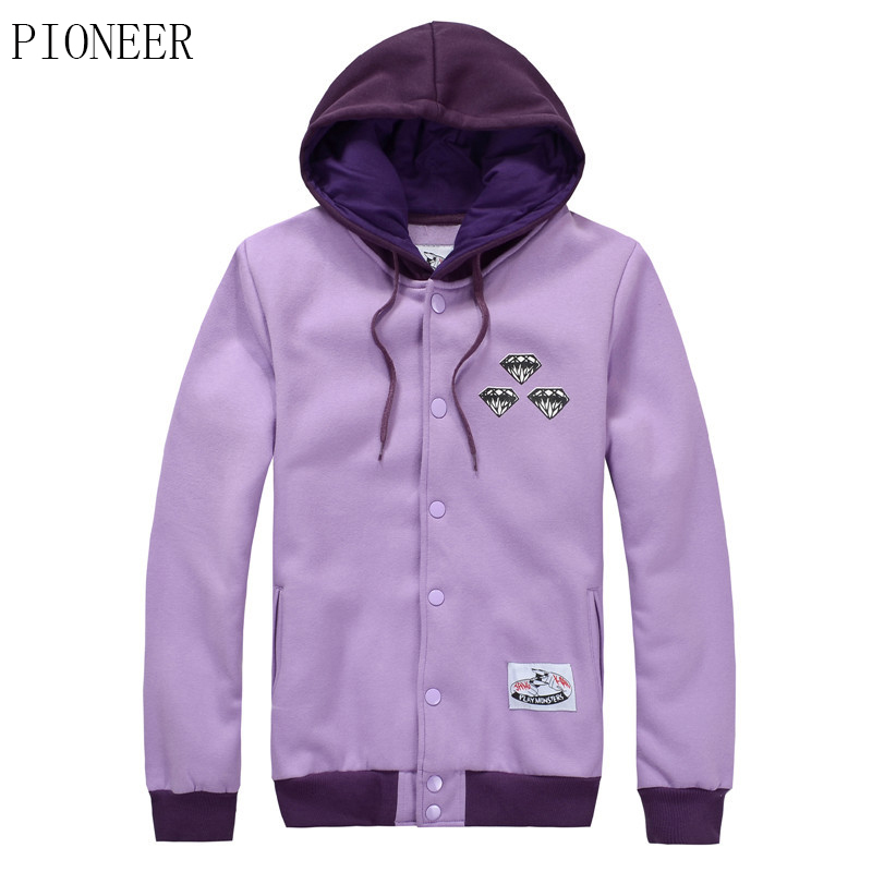 PIONEER S - XXL The new purple baseball suit men's clothing han edition star same paragraph cotton hooded fleece jacket(China (Mainland))