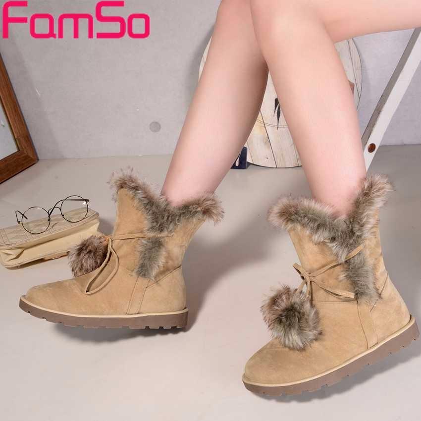 ซื้อ ขนาดบวก34-43 2016ใหม่สไตล์R Etroผู้หญิงบู๊ทสีดำสีเทาแฟลตรองเท้ากลางน่องรองเท้าที่ทำจากขนสัตว์ฤดูหนาวให้อบอุ่นรองเท้าหิมะSBT4221