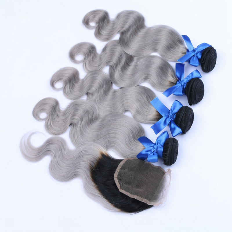 Brazilian Ombre Grey Virgin Hair Body Wave Extension 4 Bundles With Closure Shipping Free Brazilian Human Hair Weave 1b/ Grey