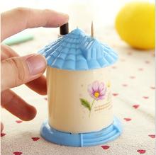 2015 NEW free shipping Automatic toothpick holder pocket fashion small portable house shaped Romantic creative toothpick box(China (Mainland))