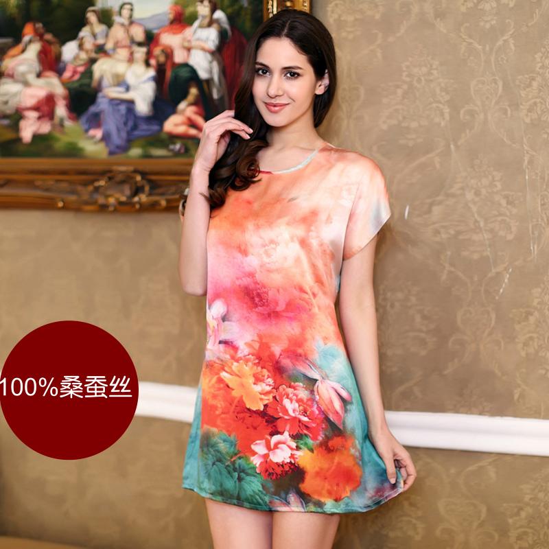 Silk Nightgown Female Spring Autumn Summer Mulberry Silk Sleepwear Plus Size Loose Short-sleeve Peony Silk Seepwear LoungeОдежда и ак�е��уары<br><br><br>Aliexpress