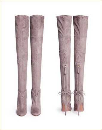 High quality pointed toe over the knee boots gray black brown suede high heel boots back zip thin heel thigh high boots(China (Mainland))