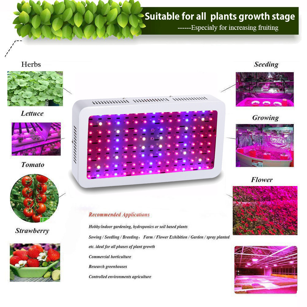 4pcs wholesale full spectrum 1200w double chip led grow light red blue white uv ir for hydroponics and indoor plants bj us317