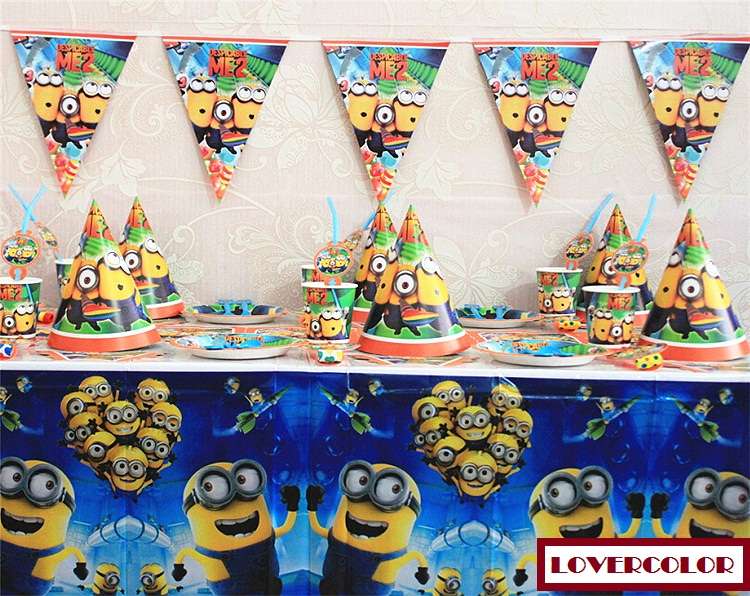 Free shipping cartoon Minions Birthday party supplies disposable plastic table cloth mask cap plate cup blowout straw flags(China (Mainland))