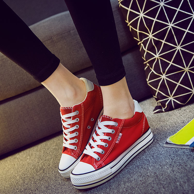I help the canvas shoes low spring 2016 increase in Korean with thick soled shoes students climax muffin shoes