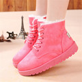 2015 New Women Winter shoes Fashion Botas Mujer Ladies Lace up Snow Boot Female Platform Ankle