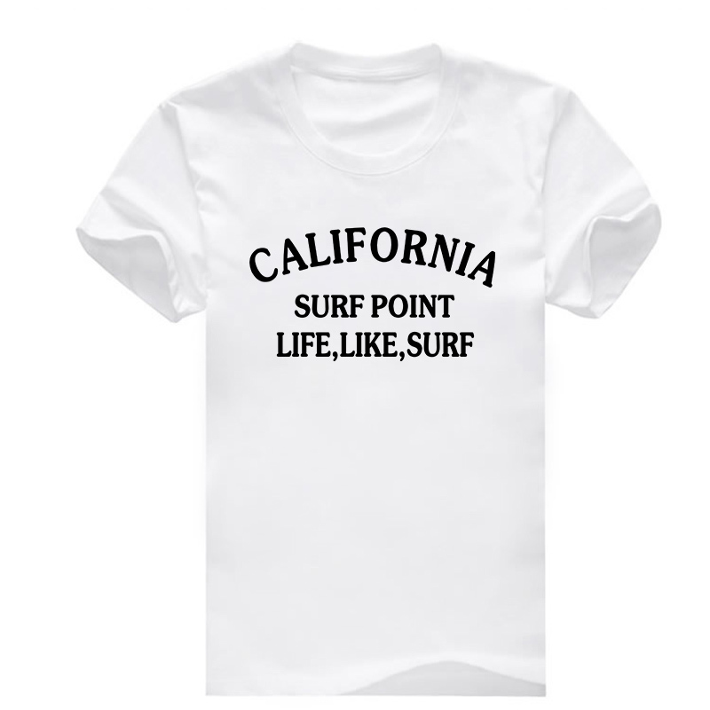 California Surf Point Life Like Surf Letter T Shirts Men Personality Cotton Summer T-shirts Short Sleeve O Neck New Tshirts(China (Mainland))