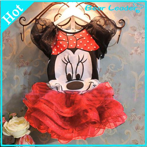 Bear Leader 2015 Summer Vestidos New Children Girl's Dress Suit Cartoon Mouse Kids Clothing Sets Princess Girls Clothes(China (Mainland))