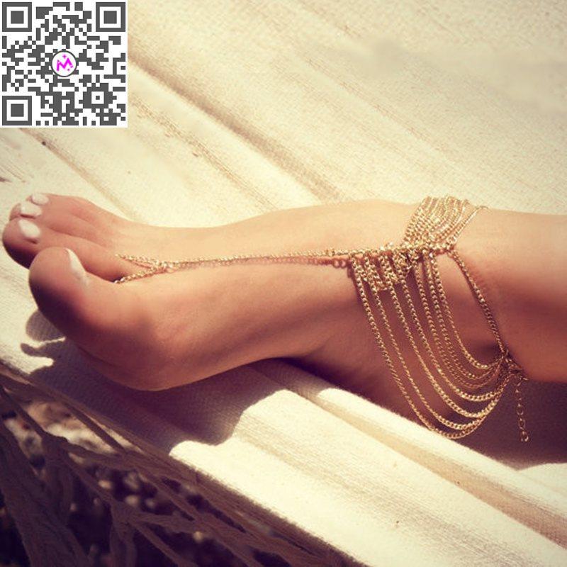 1PC New Beach Fashion Multi Tassel Toe Bracelet Chain Link Foot Jewelry Anklets Women Tornozeleira Pulseiras - Mixlot Store store