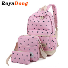 RoyaDong 2017 Printing Backpacks Set Women Canvas Animal Prints Candy Color Cute Children School Bags For Teenage Girls(China (Mainland))
