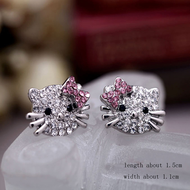 New Fashion Crystal Cat Stud Earrings Cute Rhinestone Hello Kitty Earrings bow-knot KT jewelry  for woman(China (Mainland))