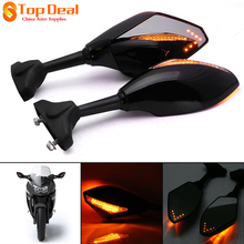Black Motorcycle LED Turn Signals Rearview Sport Bike Mirrors for HONDA SUZUKI KAWASAKI YAMAHA Triumph Ducati